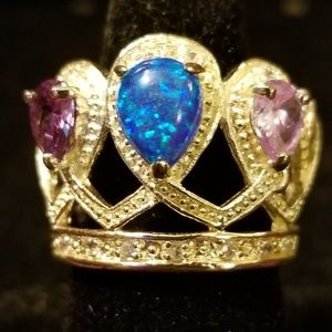 Sterling Silver Crown Statement Ring Opal Amethyst